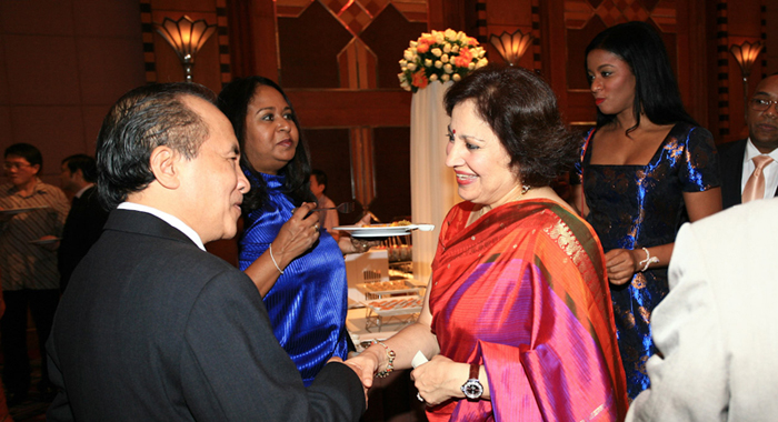 At the welcoming banquet for the External Affairs Minister of India